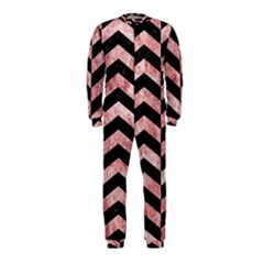 Chevron2 Black Marble & Red & White Marble Onepiece Jumpsuit (kids)
