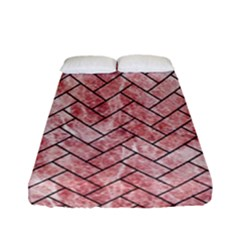 Brick2 Black Marble & Red & White Marble (r) Fitted Sheet (full/ Double Size)