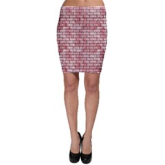 Brick1 Black Marble & Red & White Marble (r) Bodycon Skirt