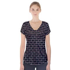 Brick1 Black Marble & Red & White Marble Short Sleeve Front Detail Top