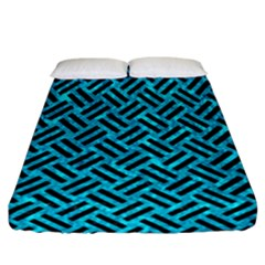 Woven2 Black Marble & Turquoise Marble (r) Fitted Sheet (california King Size)