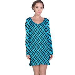 Woven2 Black Marble & Turquoise Marble (r) Long Sleeve Nightdress