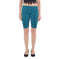 Woven2 Black Marble & Turquoise Marble (r) Yoga Cropped Leggings