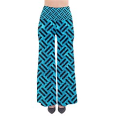 Woven2 Black Marble & Turquoise Marble (r) So Vintage Palazzo Pants