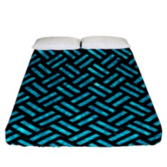 Woven2 Black Marble & Turquoise Marble Fitted Sheet (queen Size)