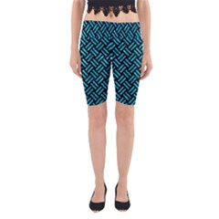 Woven2 Black Marble & Turquoise Marble Yoga Cropped Leggings