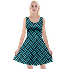 Woven2 Black Marble & Turquoise Marble Reversible Velvet Sleeveless Dress