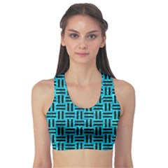 Woven1 Black Marble & Turquoise Marble (r) Sports Bra