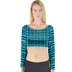 Woven1 Black Marble & Turquoise Marble (r) Long Sleeve Crop Top (tight Fit)