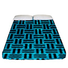 Woven1 Black Marble & Turquoise Marble (r) Fitted Sheet (king Size)