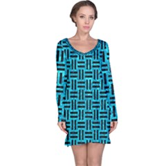 Woven1 Black Marble & Turquoise Marble (r) Long Sleeve Nightdress