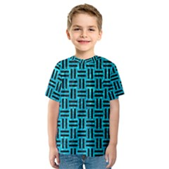 Woven1 Black Marble & Turquoise Marble (r) Kids  Sport Mesh Tee