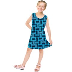 Woven1 Black Marble & Turquoise Marble (r) Kids  Tunic Dress