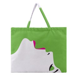 Image Of A Woman s Face Green White Zipper Large Tote Bag
