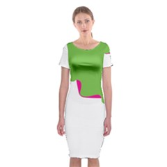 Image Of A Woman s Face Green White Classic Short Sleeve Midi Dress