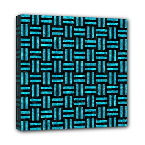 Woven1 Black Marble & Turquoise Marble Mini Canvas 8  X 8  (stretched)