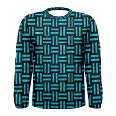 Woven1 Black Marble & Turquoise Marble Men s Long Sleeve Tee