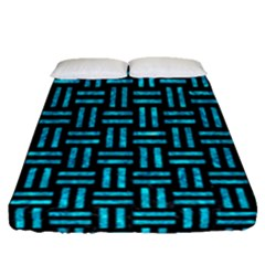 Woven1 Black Marble & Turquoise Marble Fitted Sheet (queen Size)