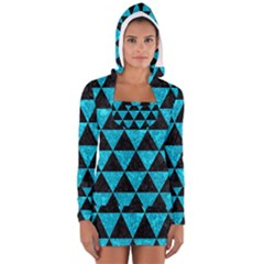 Triangle3 Black Marble & Turquoise Marble Long Sleeve Hooded T Shirt