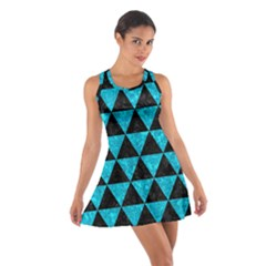 Triangle3 Black Marble & Turquoise Marble Cotton Racerback Dress
