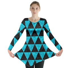 Triangle3 Black Marble & Turquoise Marble Long Sleeve Tunic