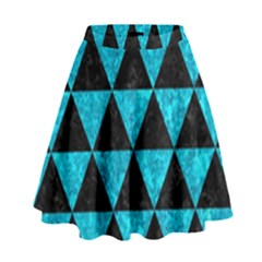 Triangle3 Black Marble & Turquoise Marble High Waist Skirt