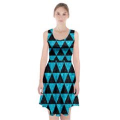 Triangle3 Black Marble & Turquoise Marble Racerback Midi Dress