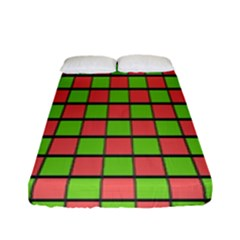 Green Red Box Fitted Sheet (full/ Double Size)