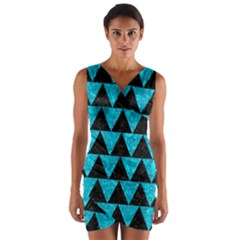 Triangle2 Black Marble & Turquoise Marble Wrap Front Bodycon Dress