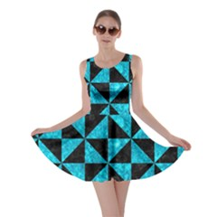 Triangle1 Black Marble & Turquoise Marble Skater Dress