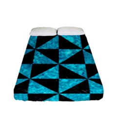 Triangle1 Black Marble & Turquoise Marble Fitted Sheet (full/ Double Size)