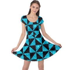Triangle1 Black Marble & Turquoise Marble Cap Sleeve Dress