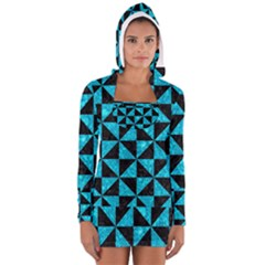 Triangle1 Black Marble & Turquoise Marble Long Sleeve Hooded T Shirt