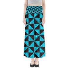 Triangle1 Black Marble & Turquoise Marble Full Length Maxi Skirt