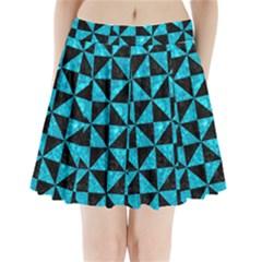 Triangle1 Black Marble & Turquoise Marble Pleated Mini Skirt