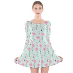 Mint Flamingos Long Sleeve Velvet Skater Dress