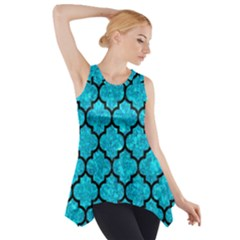 Tile1 Black Marble & Turquoise Marble (r) Side Drop Tank Tunic