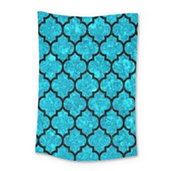Tile1 Black Marble & Turquoise Marble (r) Small Tapestry
