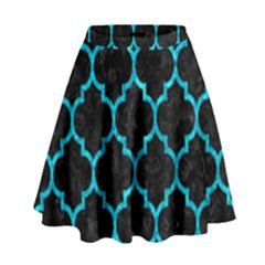 Tile1 Black Marble & Turquoise Marble High Waist Skirt