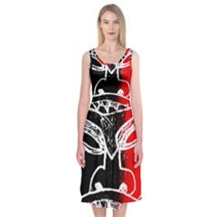 Mask Face Red Black Midi Sleeveless Dress