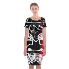 Mask Face Red Black Classic Short Sleeve Midi Dress