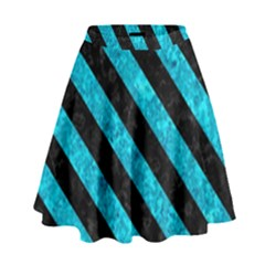 Stripes3 Black Marble & Turquoise Marble (r) High Waist Skirt