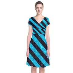 Stripes3 Black Marble & Turquoise Marble (r) Short Sleeve Front Wrap Dress