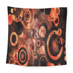 Orange Black Abstract Artwork Square Tapestry (large)