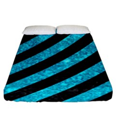 Stripes3 Black Marble & Turquoise Marble Fitted Sheet (king Size)
