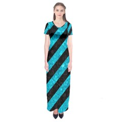 Stripes3 Black Marble & Turquoise Marble Short Sleeve Maxi Dress