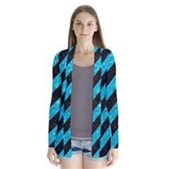 Stripes3 Black Marble & Turquoise Marble Drape Collar Cardigan