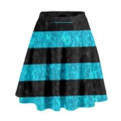 Stripes2 Black Marble & Turquoise Marble High Waist Skirt