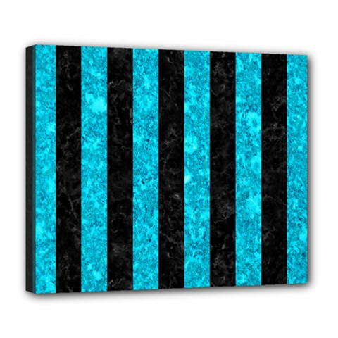 Stripes1 Black Marble & Turquoise Marble Deluxe Canvas 24  X 20  (stretched)