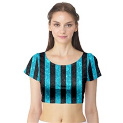 Stripes1 Black Marble & Turquoise Marble Short Sleeve Crop Top (tight Fit)